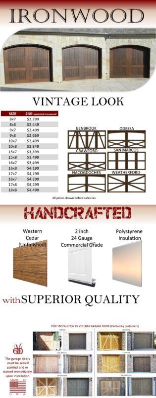 Wood garage doors by veteran garage door for Veteran garage door